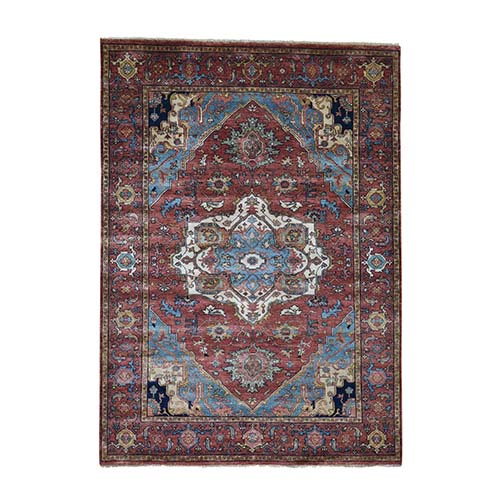 Antiqued Heriz Re-creation Pure Wool Hand-Knotted Oriental