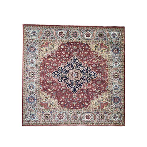 Antiqued Heriz Re-Creation Square Pure Wool Hand-Knotted Oriental
