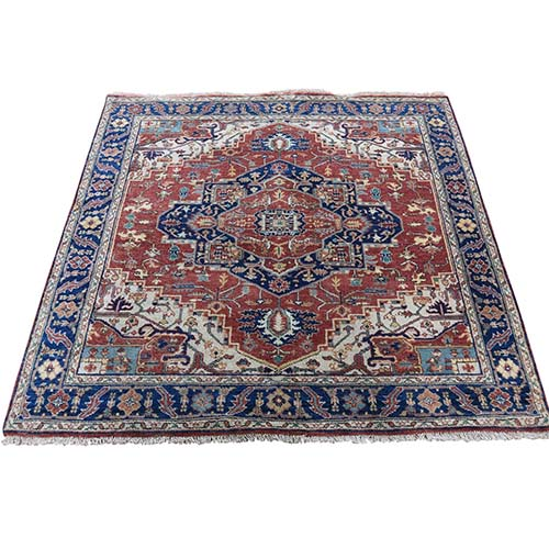 Square Antiqued Heriz Re-creation Pure Wool Hand Knotted Oriental