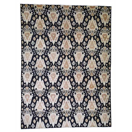 Black Ikat Pure Wool Hand-Knotted Oriental