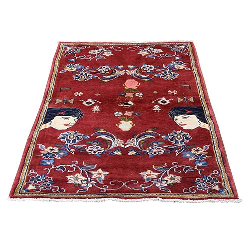 Persian Ardabil With Ladies Head Pure Wool Hand-Knotted Oriental