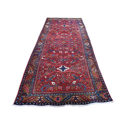 Vintage Persian Heriz Hand-Knotted Pure Wool Wide Runner Oriental