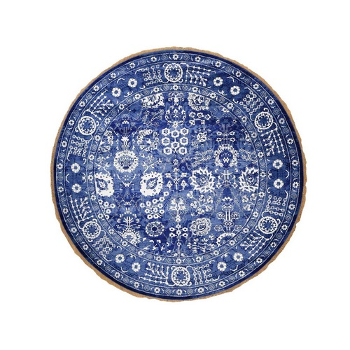 Hand-Knotted Wool And Silk Round Tone on Tone Tabriz Oriental