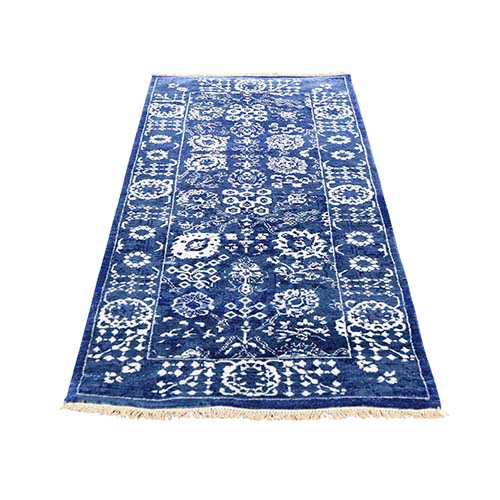 Hand-Knotted Wool and Silk Tone on Tone Tabriz Short Runner Oriental Rug
