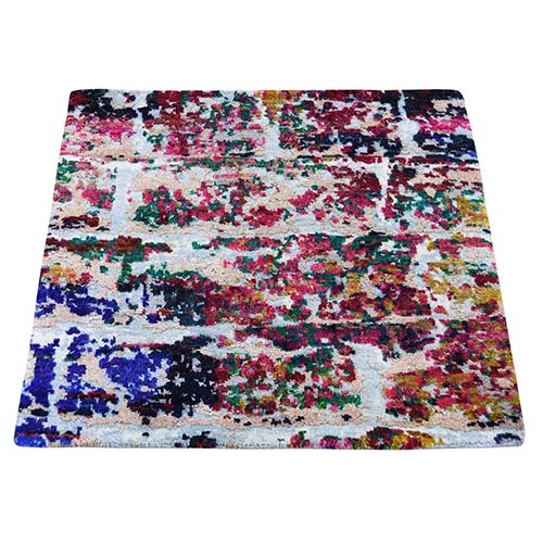 Sari Silk With Oxidized wool Square Hand-Knotted Oriental Sample Rug