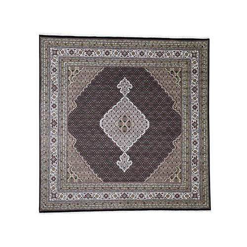 Tabriz Mahi Wool and Silk Square Hand-Knotted Oriental