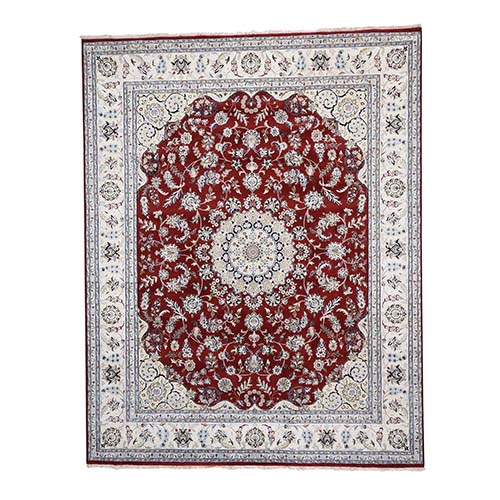 Wool And Silk 250 KPSI Red Nain Hand-Knotted Oriental