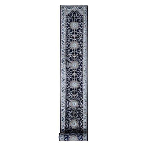 Wool And Silk 250 KPSI Navy Nain Hand-Knotted Oriental XL Runner Rug