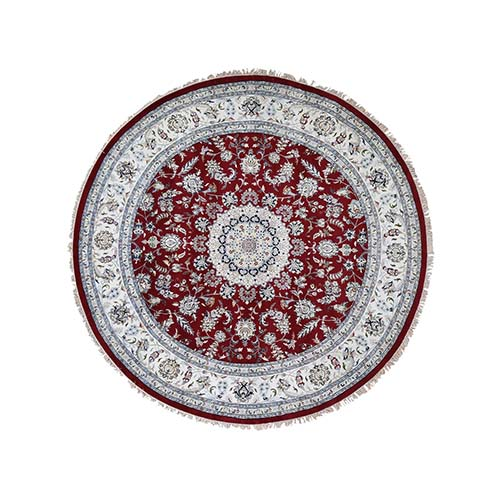 Hand-Knotted Wool And Silk 250 Kpsi Red Nain Round Oriental Rug