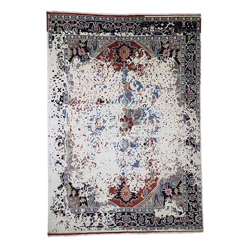 Broken Persian Heriz Pure Wool Hand Knotted Oriental