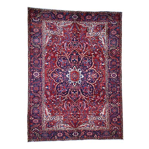 Red Semi Antique Persian Heriz Flower Design Good Condition Hand-Knotted Oriental Rug