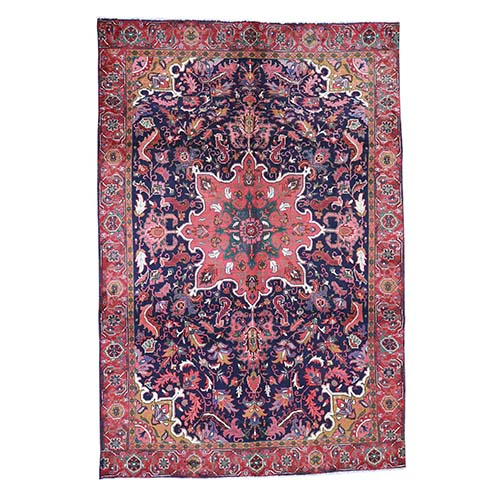 Blue Semi Antique Persian Heriz Hand-Knotted Oriental