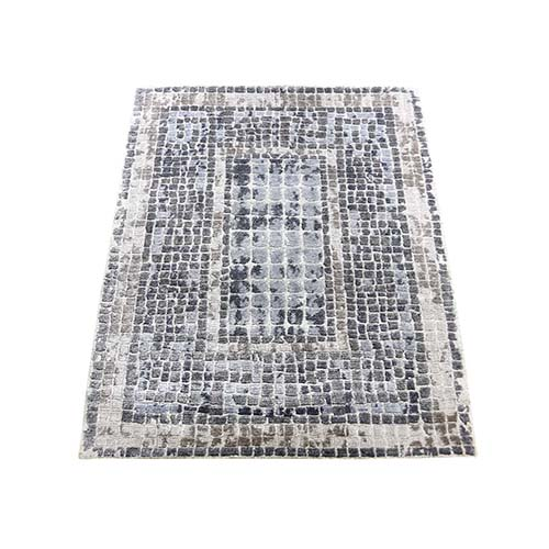 Silver And Blue Silken Roman Mosaic Design Hand-Knotted Oriental