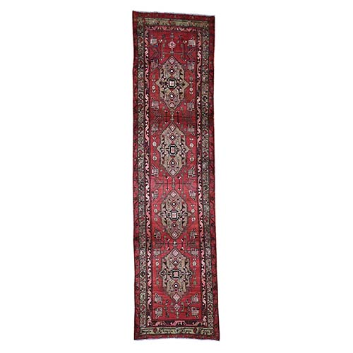 Red Vintage North West Persian Bohemian Runner Pure Wool Hand-Knotted Oriental
