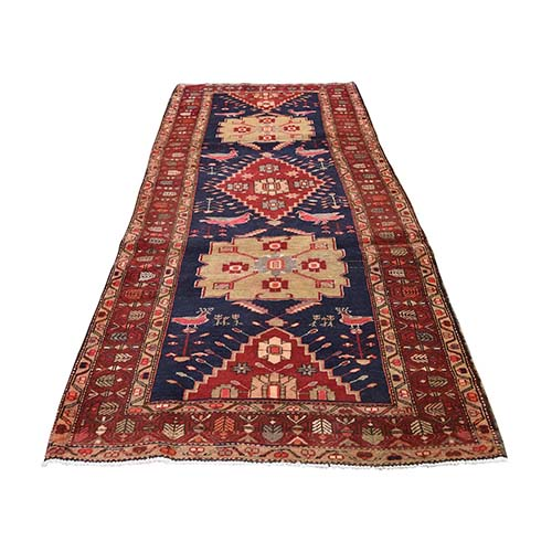 Red Vintage North West Persian With Peacocks & Birds Wide Runner Hand-Knotted Oriental