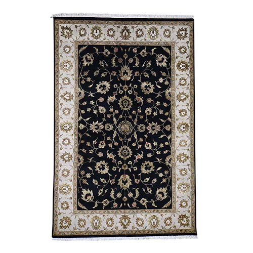 Black,Half Wool And Half Silk Rajasthan Hand-Knotted Oriental Rug