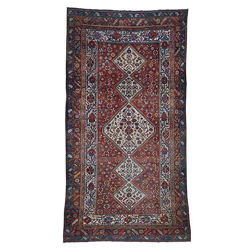 Red Gallery Size Antique Persian Bakhtiari Good Con. Full Pile Pure Wool Hand-Knotted Oriental Rug