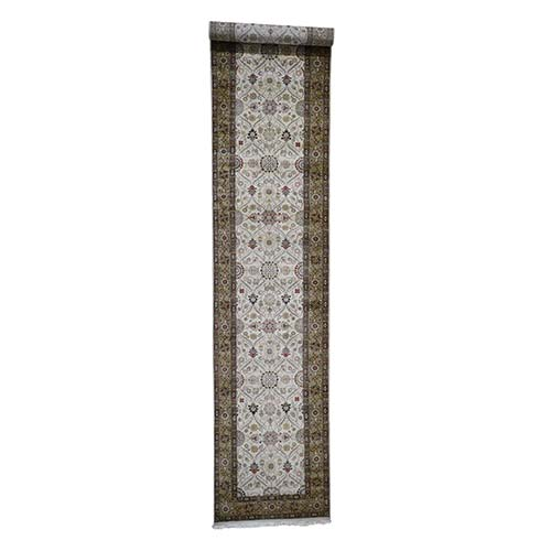 Hereke Design Wool And Silk 300 Kpsi Hand-Knotted XL Runner Oriental