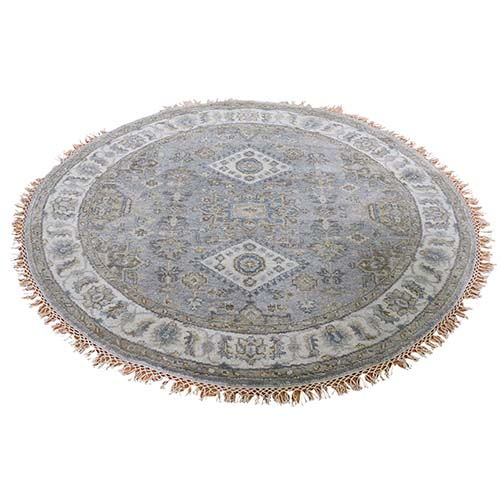 Gray Karajeh Design Pure Wool Hand-Knotted Round Oriental