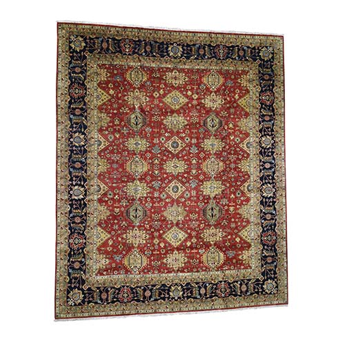 Oversize Red Karajeh Hand-Knotted Tribal Design Oriental Rug