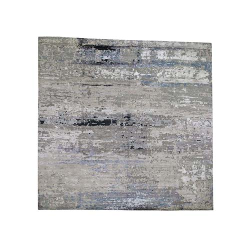 Grey Hi-Low Pile Abstract Design Wool & Silk Square Hand-Knotted Oriental