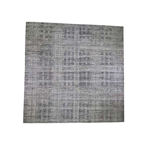 Square Gray Hand Spun Undyed Natural Wool Modern Oriental Hand-Knotted