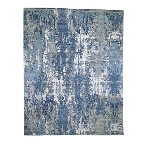 Oversize Blue-Gray Abstract Design Wool and Pure Silk Hand-Knotted Oriental