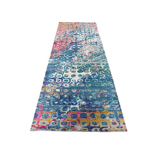 THE PEACOCK Sari Silk Colorful Runner Hand-Knotted Oriental Rug