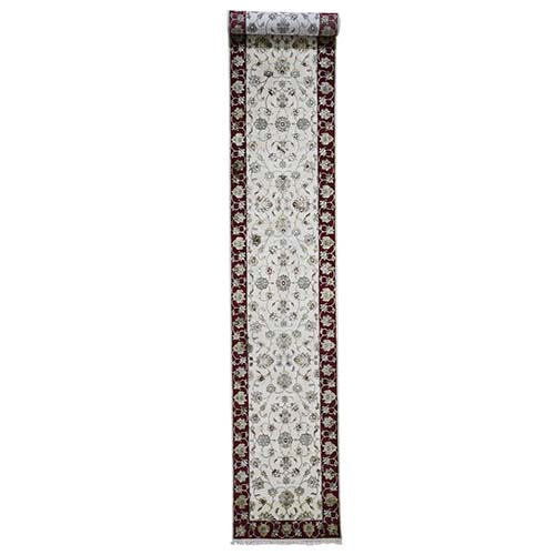 Hand-Knotted Half Wool and Half Silk Rajasthan XL Runner Oriental