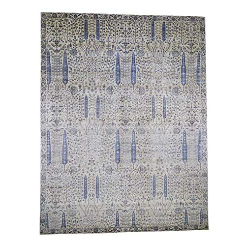 Oversized Willow And Cypress Tree Design Wool And Silk Hand-Knotted Oriental