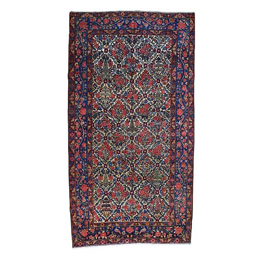 Antique Persian Bakhtiari Full pile With Birds Wide Gallery Runner Oriental