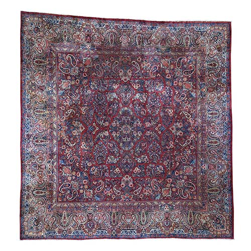 Antique Persian Sarouk Large Square Some Wear Hand-Knotted Oriental Rug