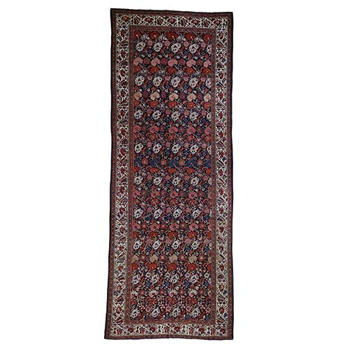 Antique Persian Bakhtiari Wide Gallery Runner Flower Design Hand-Knotted Oriental Rug
