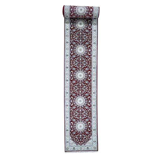 Wool and Silk 250 KPSI Red Nain Hand-Knotted Oriental XL Runner