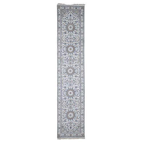 Wool and Silk 250 KPSI Ivory Nain Hand-Knotted Oriental Runner Rug