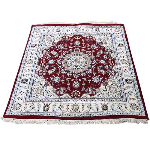 Wool and Silk 250 KPSI Red Nain Hand-Knotted Oriental Square Rug