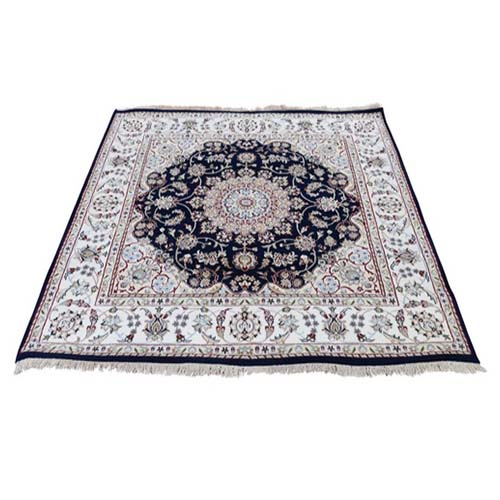 Square Wool And Silk 250 KPSI Navy Nain Hand-Knotted Oriental Rug