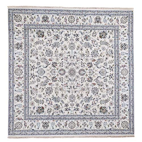 Square Wool and Silk 250 KPSI All Over Design Ivory Nain Hand-Knotted Oriental Rug