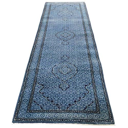 Tabriz Mahi Wool And Silk Runner Hand-Knotted Oriental Rug