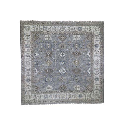 Gray Karajeh Design Square Pure Wool Hand-Knotted Oriental