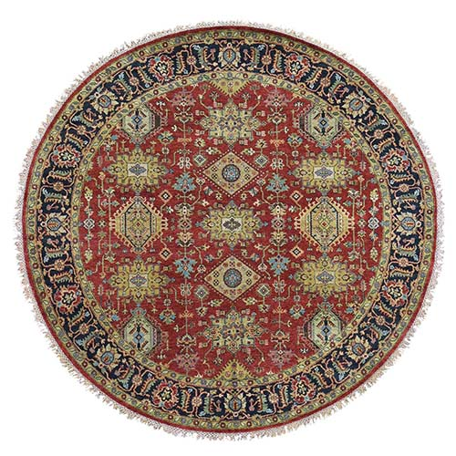Red Karajeh Design Pure Wool Hand-Knotted Oriental Round Rug