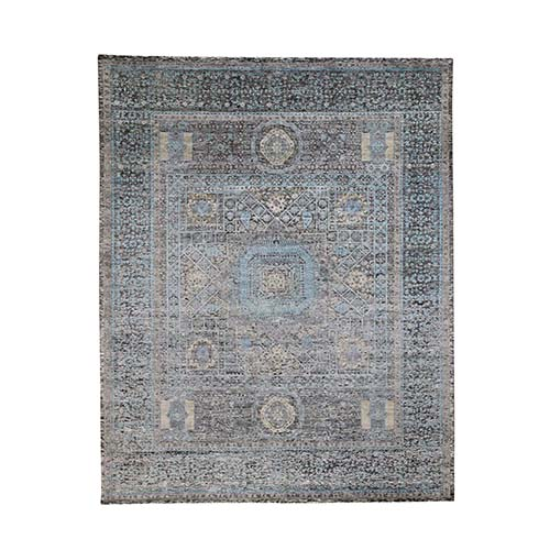 Wool And Silk Hi-Low Pile Textured Mamluk Design Hand-Knotted Oriental Rug