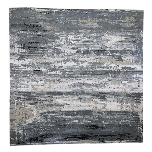 Gray Abstract Design Wool and Silk Hand-Knotted Oriental XL Square