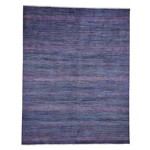 Purple Grass Design Wool and Silk Hand-Knotted Oriental