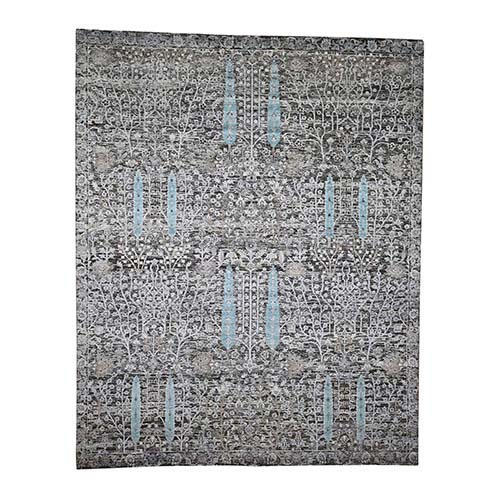Hand-Knotted Cypress Tree Design Silk with Textured Wool Oriental Rug