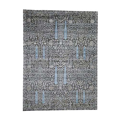 Hand-Knotted Cypress Tree Design Silk with Textured Wool Oriental