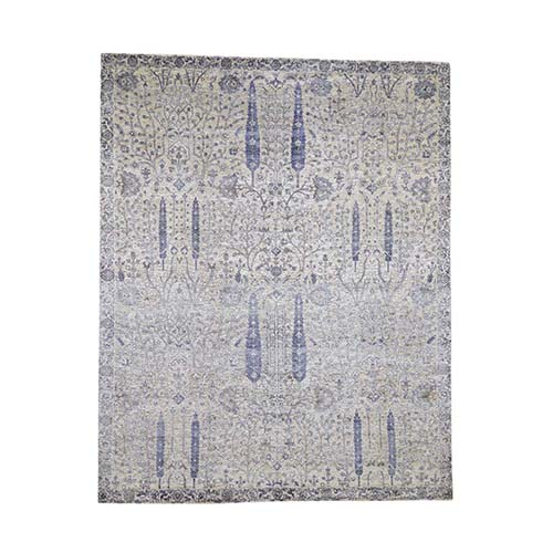 Willow And Cypress Tree Design Silk With Textured Wool Hand-Knotted Oriental