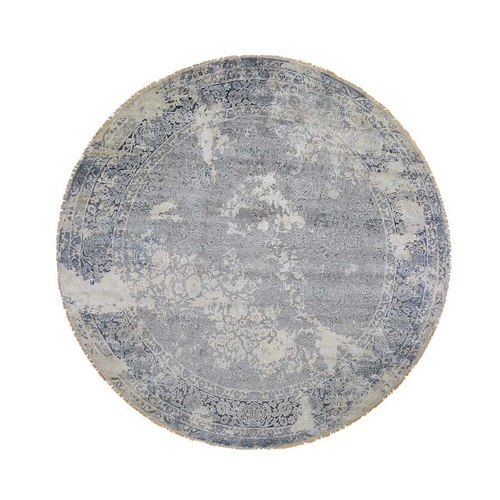 Round Broken Persian Design With Pure Silk Hand-Knotted Oriental Rug