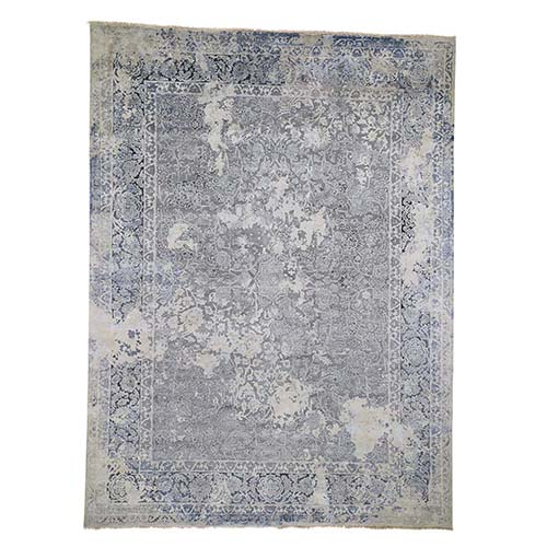 Broken Persian Design Wool With Pure Silk Hand-Knotted Oriental