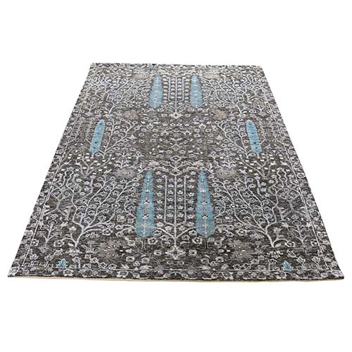 Hand-Knotted Cypress Tree Design Silk with Textured Wool Textured Oriental Rug